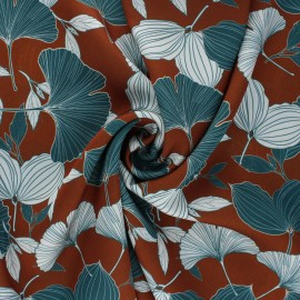 Tissu crêpe léger satiné Ginkgo Leaves - marron x 10cm