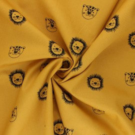 Poppy poplin cotton Fabric - mustard yellow Happy Friends x 10cm