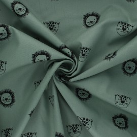 Tissu coton Popeline Poppy Happy Friends - eucalyptus x 10cm