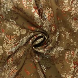 Satiny light Crepe fabric - khaki green Aicha x 10cm