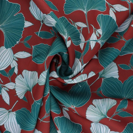 La Maison Victor Satiny light Crepe fabric - red brick Ginkgo Leaves x 10cm