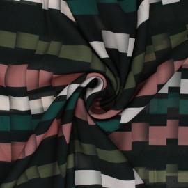 ♥ Coupon 150 cm X 145 cm ♥Light crepe polyester fabric - green Broken Stripe