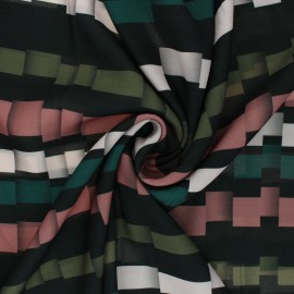 ♥ Coupon 300 cm X 145 cm ♥ Tissu crêpe polyester léger Broken Stripe - vert