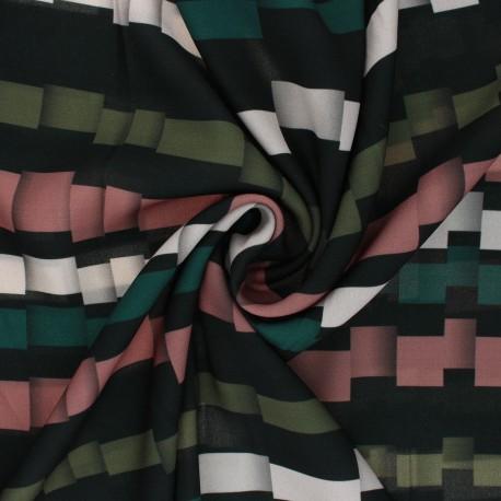 Light crepe polyester fabric - green Broken Stripe x 10cm