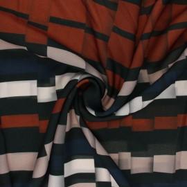 Light crepe polyester fabric - rust red Broken Stripe x 10cm