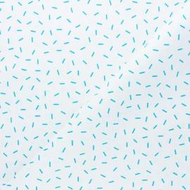 Tissu piqué de coton Vermicelles - Bleu x 10cm