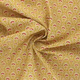 Poppy poplin cotton Fabric - mustard yellow Retro Graphic x 10cm