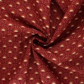 Poppy poplin cotton Fabric - rust Retro Graphic x 10cm