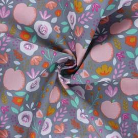 Poppy poplin cotton fabric - grey Easy Peachy x 10cm