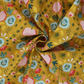 Tissu coton popeline Poppy Easy Peachy - jaune moutarde x 10cm
