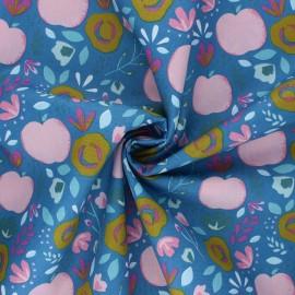 Tissu coton popeline Poppy Easy Peachy - bleu x 10cm