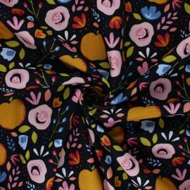 Tissu coton popeline Poppy Easy Peachy - bleu marine x 10cm