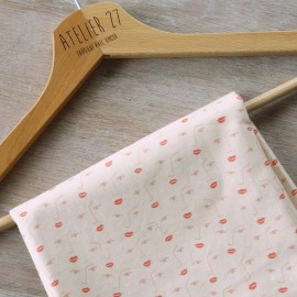 Tissu coton sergé bio Atelier 27 Zoi - rose nude x 10cm