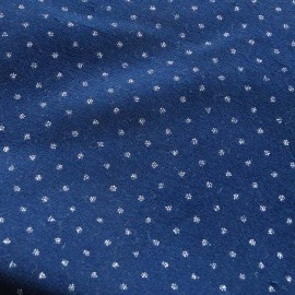Short velvet fabric - navy blue Pois Pailletés x 10cm