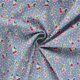 Tissu coton popeline Poppy Love you cherry much - gris x 10cm