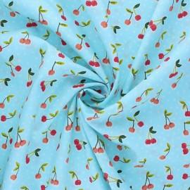 Tissu coton popeline Poppy Love you cherry much - bleu x 10cm