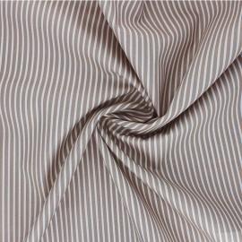 Poppy poplin cotton fabric - taupe brown Stripe A x 10cm