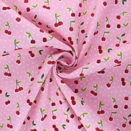 Poppy poplin cotton fabric - pink Love you cherry much x 10cm