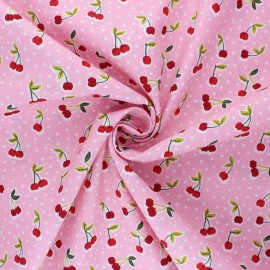 Tissu coton popeline Poppy Love you cherry much - rose x 10cm