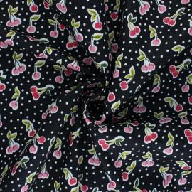 Poppy poplin cotton fabric - black Love you cherry much x 10cm