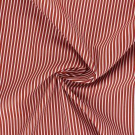 Poppy poplin cotton fabric - terracotta Stripe A x 10cm