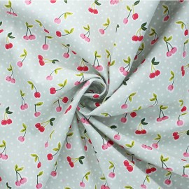 Poppy poplin cotton fabric - grey green Love you cherry much x 10cm