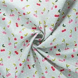 Tissu coton popeline Poppy Love you cherry much - vert de gris x 10cm