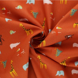 Poppy poplin cotton Fabric - rust Happy Animals x 10cm