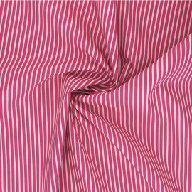 Tissu popeline coton Poppy Stripe A - fuchsia x 10cm