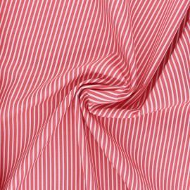 Tissu popeline coton Poppy Stripe A - corail x 10cm
