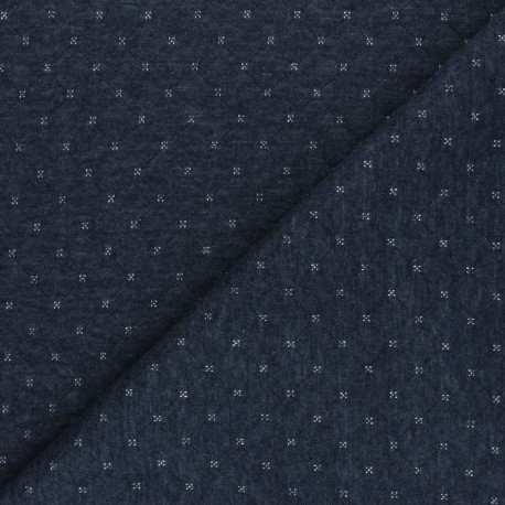 Quilted Jersey reversible fabric - silver/blue The Shining x 10cm