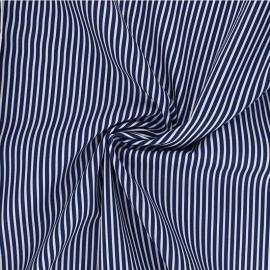 Tissu popeline coton Poppy Stripe A - bleu nuit x 10cm
