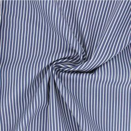 Tissu popeline coton Poppy Stripe A - bleu x 10cm