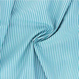 Tissu popeline coton Poppy Stripe A - bleu lagon x 10cm