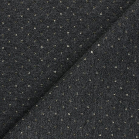 Quilted Jersey reversible fabric - gold/grey The Shining x 10cm