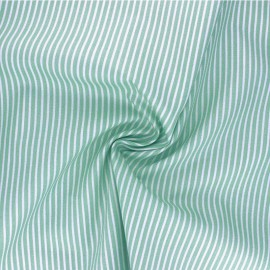 Tissu popeline coton Poppy Stripe A - vert céladon x 10cm