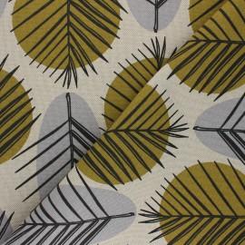 Tissu Toile polycoton aspect lin Leaves - gris x 10cm