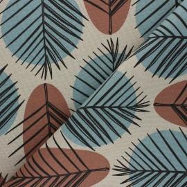 Tissu Toile polycoton aspect lin Leaves - marron x 10cm