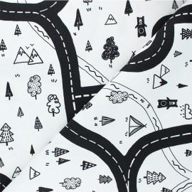 Tissu toile de coton Poppy Let's go on Adventure  - blanc x 10cm