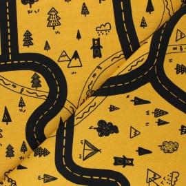 Poppy Canvas Cotton fabric - mustard yellow Let's go on Adventure x 10cm