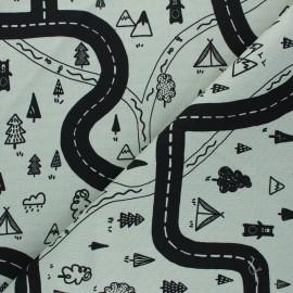 Tissu toile de coton Poppy Let's go on Adventure  - vert de gris x 10cm