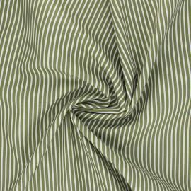 Tissu popeline coton Poppy Stripe A - vert avocat x 10cm