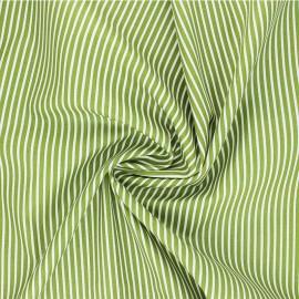 Tissu popeline coton Poppy Stripe A - vert anis x 10cm