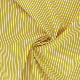 Poppy poplin cotton fabric - mustard yellow Stripe A x 10cm