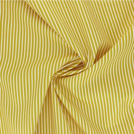 Tissu popeline coton Poppy Stripe A - jaune moutarde x 10cm