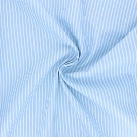 Tissu popeline coton Poppy Stripe A - bleu ciel x 10cm