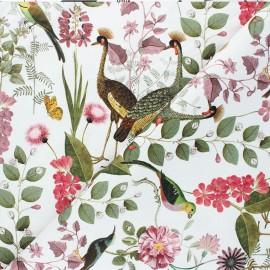Poppy Canvas Cotton fabric - white Botanical Garden x 10cm