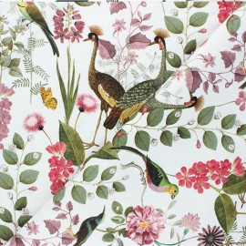 Tissu toile de coton Poppy Botanical Garden  - blanc x 10cm