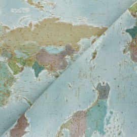 Poppy Canvas Cotton fabric - blue World Map x 10cm
