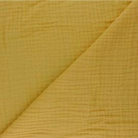 Tissu triple gaze de coton uni Sorbet - jaune moutarde x 10cm